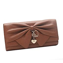 Damara Women Long Faux Leather Bifold Large Bow Design Wallet Handbag,Brown
