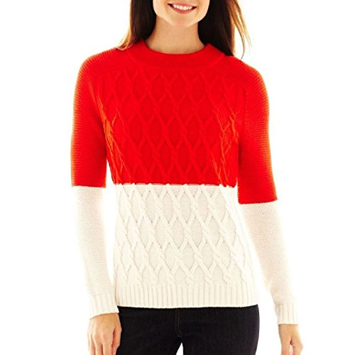 liz-claiborne-long-sleeved-colorblock-cable-fiery-red-sweater-size-xl