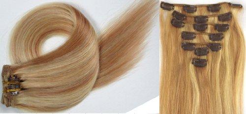 Clip-In-Extensions für komplette Haarverlängerung - hochwertiges Remy-Echthaar - 70g - 38 cm -7tlg- Nr.18/613 mischen