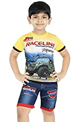 Koolwarm Boys' Yellow Cotton T-shirt and Denim Half Shorts Set(Size- 26, 6-7 yrs)