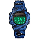 Kids Solar Watches Digital Outdoor Sport Waterproof Electrical EL-Lights Watches with Alarm Luminous Stopwatch Casual Military Child Wrist Watch Gift for Boys Girls (Black/Blue) (Blue Camouflage)