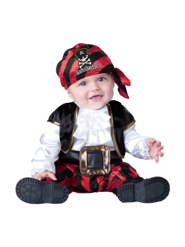 InCharacter Costumes Baby's Cap'N Stinker Pirate Costume, Black/White/Red, Large