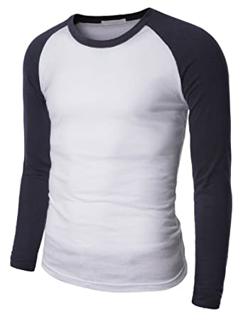 Doublju Mens Raglan Crew Neck T-shirts NAVY (US-S)