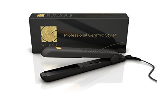 GPH PROFESSIONAL CERAMIC FLAT IRON HAIR STRAIGHTENER + 4 FREE Salon Clips - UNIVERSAL VOLTAGE 110v-220 - TEMPERATURE CONTROLS - ADVANCED CERAMIC HEATER TECHNOLOGY - FOR CURLS, FLICKS & STRAIGHT HAIR