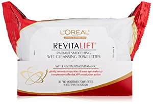 L'Oreal Paris RevitaLift Radiant Smoothing Wet Cleansing Towelettes, 30 CT