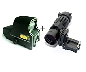 Sale Red & Green Dot Tactical UFC551 Rifle Scope +Tactical 3X Magnifier Scope Sight with Flip To Side 20mm Rail Mount Scopes Set