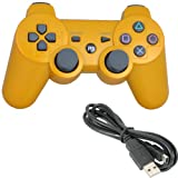 For Sony Playstation 3 Ps3 Bluetooth 6 Axis Wireless Controller Gamepad Joypad Dualshock with Charging Cable 11 Colors Available (Golden)