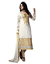 Yehii Women's Georgette White Plain / Solid dress material Unstitched Salwar Kameez Dupatta for women party wear low price Below Sale Offer