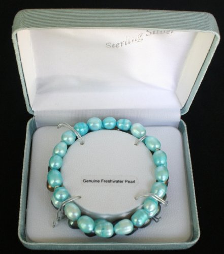 Brilliant 3 Piece Bracelet Set of Genuine Freshwater Pearls - Light Blue, Bronze and Purples