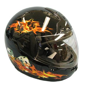 Clearance! Max603 Black Flames Full Face Motorcycle Helmet Medium