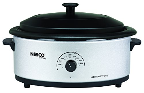 Nesco, 4816-47, Roaster Oven with Porcelain Cookwell, 6 Quart, Silver/Black (Small Electric Roaster Oven compare prices)