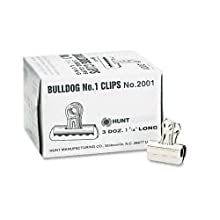 Elmer's Bulldog Clips, Steel, Nickel-Plated, 7/16 Inch Capacity, 1-1/4 Inches, 36/Box