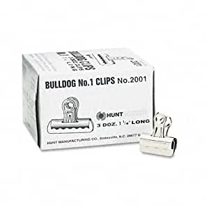 Elmer's Bulldog Clips, Nickel-Plated, 3/8 Inch Capacity, 1-1/4 Inches, 36/Box (2001)