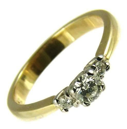 Ladies' Diamond Trilogy Ring, 9 Carat Yellow Gold set with Three Stones, 1/4 Carat Total Diamond Weight