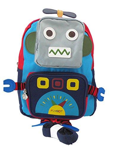 Ziweiba迷子紐付き ベビーリュックサック 子供 赤ちゃん おでかけ お散歩 迷子防止 ハーネス リード付き ロボット型 (bブルー)
