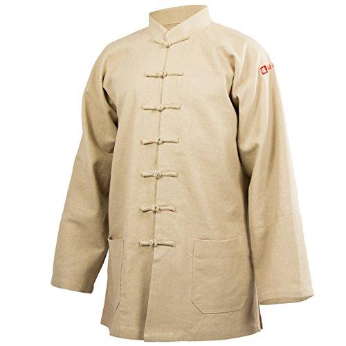 wu designs Leinen Taiji Anzug Stehkragen - Taiji Shirt - Tai Chi - Gong Fu - Wushu, beige, 180