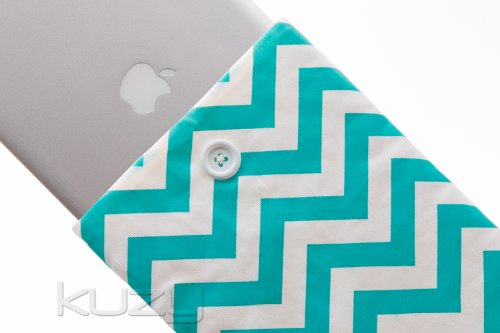 #>>  Kuzy - 15-inch TEAL Chevron Cotton Sleeve Handmade Cover for MacBook Pro 15.4