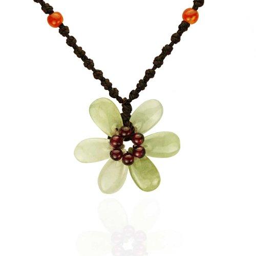 Hand Carved Jadeite Jade Charming Flower Garnet Center and Red Jade Beads Adjustable Cord Necklace
