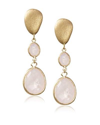 Rivka Friedman 18K Gold Clad Pebble Post & Rose Quartz Drop Earrings