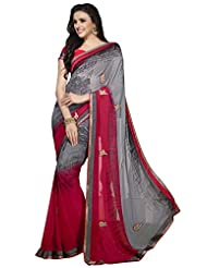 Fancy Startling Grey Colored Printed Faux Georgette Saree By Triveni