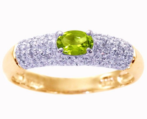 14K Yellow Gold Petite Oval Gemstone and Diamond Promise Ring-Peridot, size7