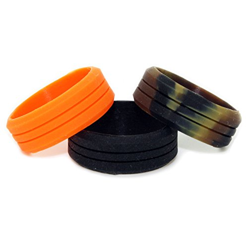Silicone Wedding Ring - Outdoor Ring 3 Pack - Great for Climbing, CrossFit, Gym, Electricians, Anybody Who Works With Hands - Rubber Camo Wedding Rings - Black Wedding Band - 8mm Black Rings - US Ring Size 13