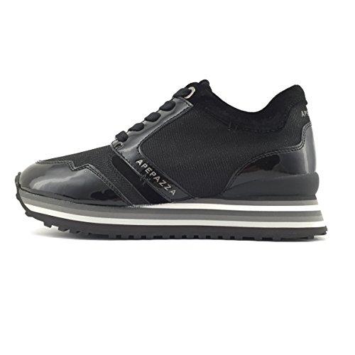 Apepazza RSD01 METAL scarpa donna stringata in vernice/tessuto nero (40)