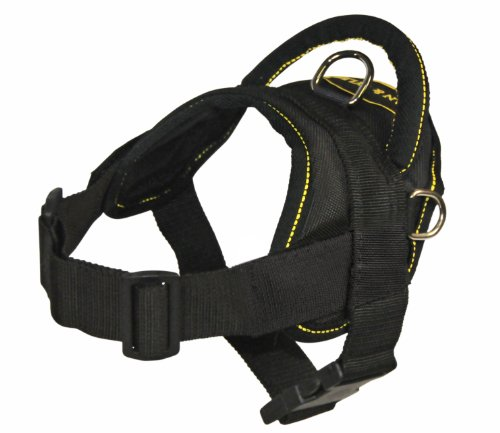 Dean And Tyler Dt Dog Harness, Black With Yellow Trim, X-Small - Fits Girth Size: 20-Inch To 23-Inch