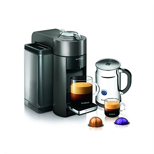 Nespresso A+GCC1-US-GM-NE VertuoLine Evoluo Deluxe Coffee and Espresso Maker with Aeroccino Plus Milk Frother, Graphite Metal