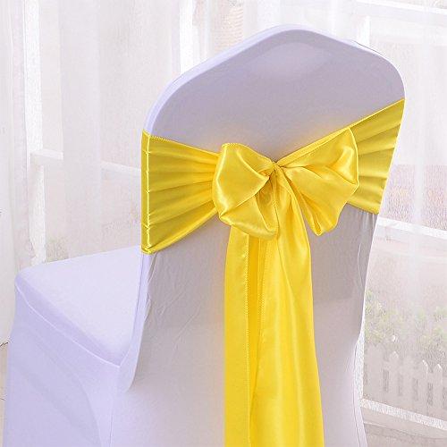 10PCS 17X275CM Satin Chair Bow Sash Wedding Reception Banquet Decoration #03 Bright Yellow