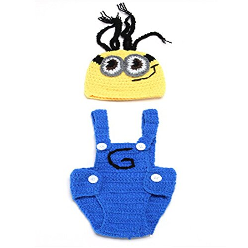 Hee Fly Infant Handmade Knit Crochet Costume Photography Minions Hat Set