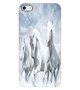 ColourCraft Amazing White Horses Design Back Case Cover for APPLE IPHONE 4S