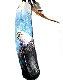 Eagle Hand Painting on a Large Feather By Jose Carmelo Canales