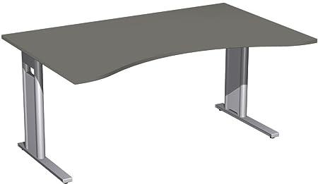 Scrivania ergonomia forma fisso, C-Mascherina Optional, 1600x 1000x 720, grafite/argento, Gera mobili