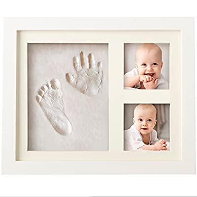 CHARMING BABY HANDPRINT and Footprint Frame - Unique Baby Keepsake Preserves Priceless Memories - Non Toxic and Safe Clay - Quality Wood Frame with Safe Acrylic Glass - Great Baby Gift For Baby Registry