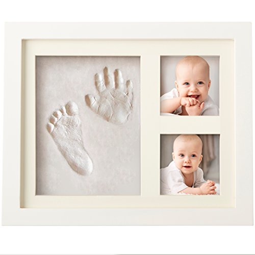 Charming Baby Handprint and Footprint Frame Package - Keepsake Preserves Priceless Memories - Non Toxic and Safe Clay - Quality Wood Frame with Safe Acrylic Glass - Great Baby Gift For Baby Registry
