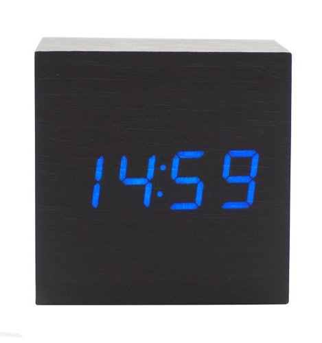 Kabb Fashion Cube Mini Black Wood Grain Blue Led Light Alarm Clock With Time And Temperature Display & Sound Control