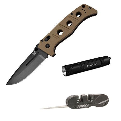 Benchmade 275Bksn Adamas Plain Edge Bk Coated Blade Folding Knife With Compact Keychain Led Flashlight And Pocket Pal Knife Sharpener