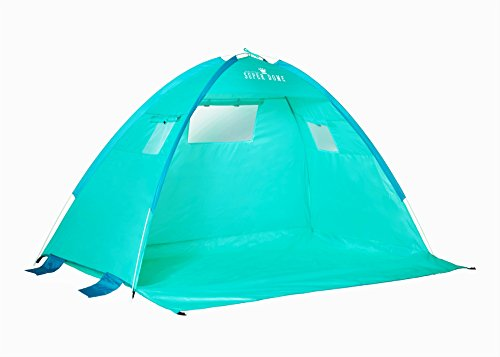 Beautiful Turquoise sea blue Automatic large Premium quality Instant pop-up Portable Outdoors Beach Tent UV protected Outdoor Sun Shelter Sun Shade Beach Cabana light weight tent+4 sand pockets+6 Pegs