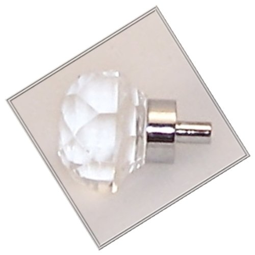 TWO (2) Old Town Diamond-Cut 24% Lead Crystal- Knob Pulls with Polished Chrome base, 1-1/4