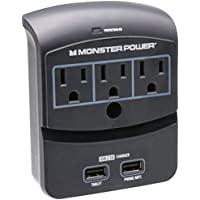 Monster 3-Outlet Surge Protector w/2 USB Ports