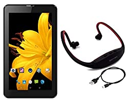 I KALL IK1 7inch display Dual sim 3G Calling tablet with MP3/FM Player Neckband-Black