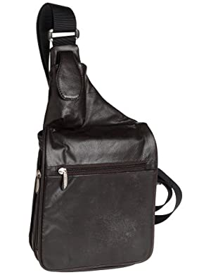 Travelon Leather Expandable Messenger-Style Bag