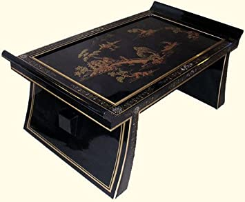 """Oriental Coffee Table with wing top lacquered in Shiny Black and Rich gold landscape design and glass top - 42"""" wide"""