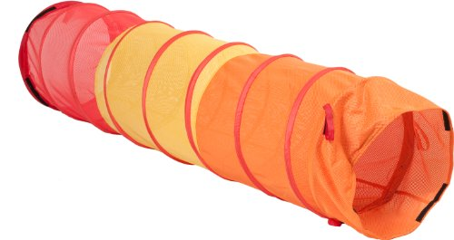 """Pacific Play Tents 6'X19"""" Diameter Institutional See-Thru Multi Color Padded Tunnel #20810 Orange/Yellow front-1002241"""