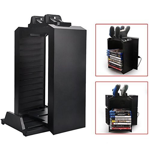 Multifunctional Detachable Playstation 4 Storage Stand Kit for PS4, Dualshock 4 Controller Charging Station and Console Stand Holder