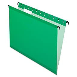 Pendaflex® SureHookTM Poly Laminate Hanging Folders, Letter, 1/5 Cut, Bright Green, 20/Box