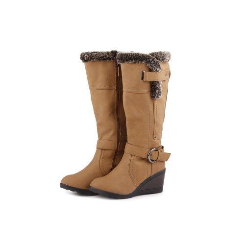 Reneeze K-ADDIE-2 Kids Wedge Mid-Calf Winter Boots- Camel