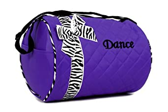 Girls Dance Duffle Bag Purple with Zebra Print Bow