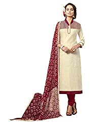 Women Icon Presents Beige Embroidered Un-Stitched Dress Material WICKFVSIDC781016